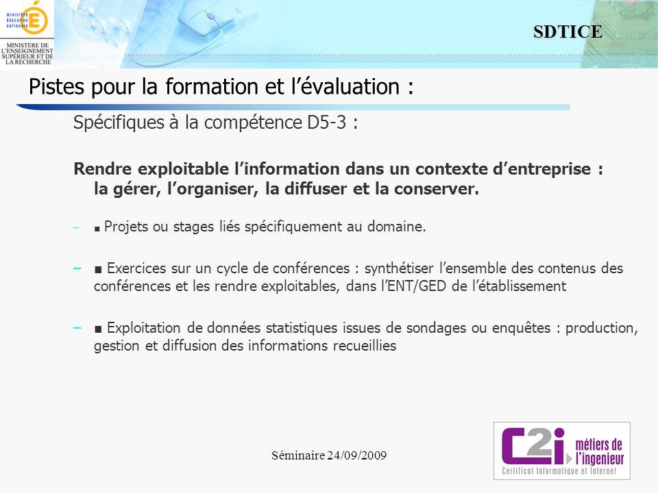7 SDTICE Séminaire 24/09/2009 Pistes pour la formation et lévaluation : Spécifiques à la compétence D5-3 : Rendre exploitable linformation dans un con