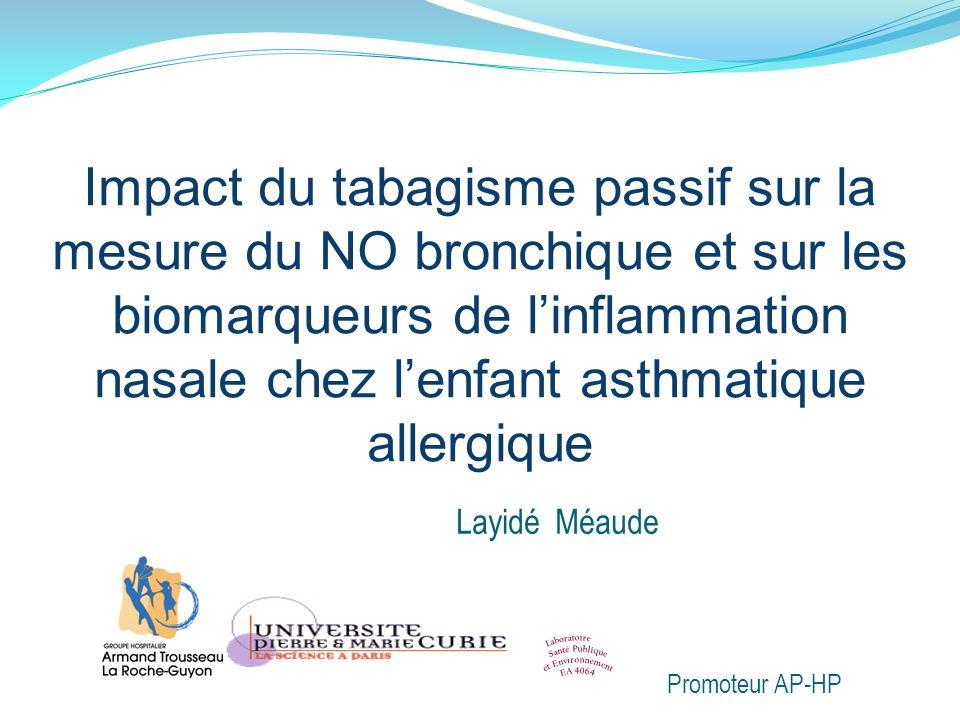 Contexte(1) Le TABAC Est le principal polluant du milieu intérieur Accroît les exacerbations de lasthme (Etzel 2003) Entraîne une inflammation neutrophilique chez ladulte asthmatique fumeur [expectoration induite] (Chalmers 2001) Leffet du Tabagisme Passif (TP) sur les marqueurs de linflammation bronchique et nasale chez lenfant asthmatique allergique est moins étudié