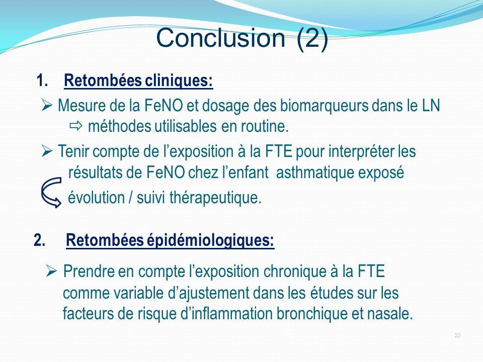 Conclusion (2) 1. Retombées cliniques: Mesure de la FeNO et dosage des biomarqueurs dans le LN méthodes utilisables en routine. Tenir compte de lexpos