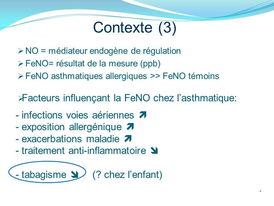 Contexte (3) NO = médiateur endogène de régulation FeNO= résultat de la mesure (ppb) FeNO asthmatiques allergiques >> FeNO témoins 4 Facteurs influenç