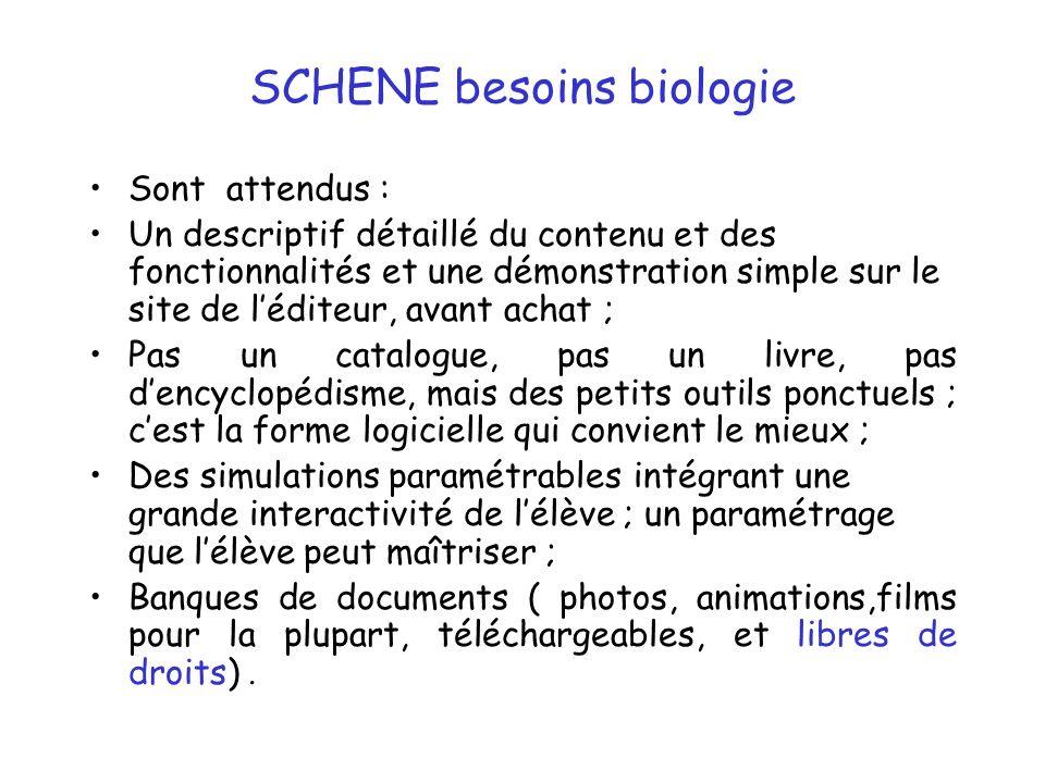 SCHENE besoins biologie Sont attendus : Un descriptif détaillé du contenu et des fonctionnalités et une démonstration simple sur le site de léditeur,