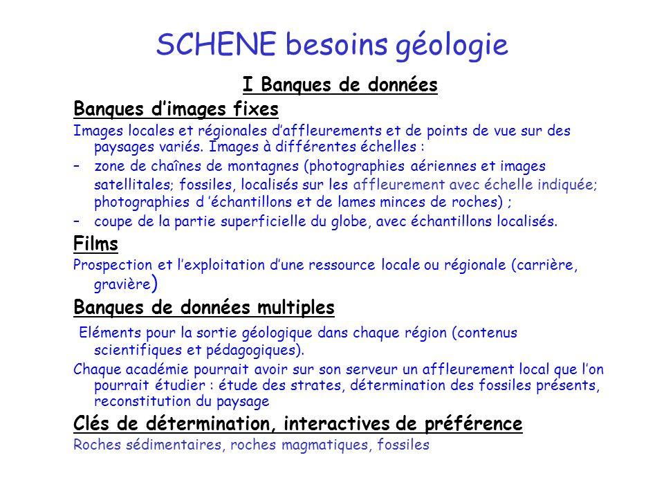 SCHENE besoins géologie I Banques de données Banques dimages fixes Images locales et régionales daffleurements et de points de vue sur des paysages variés.