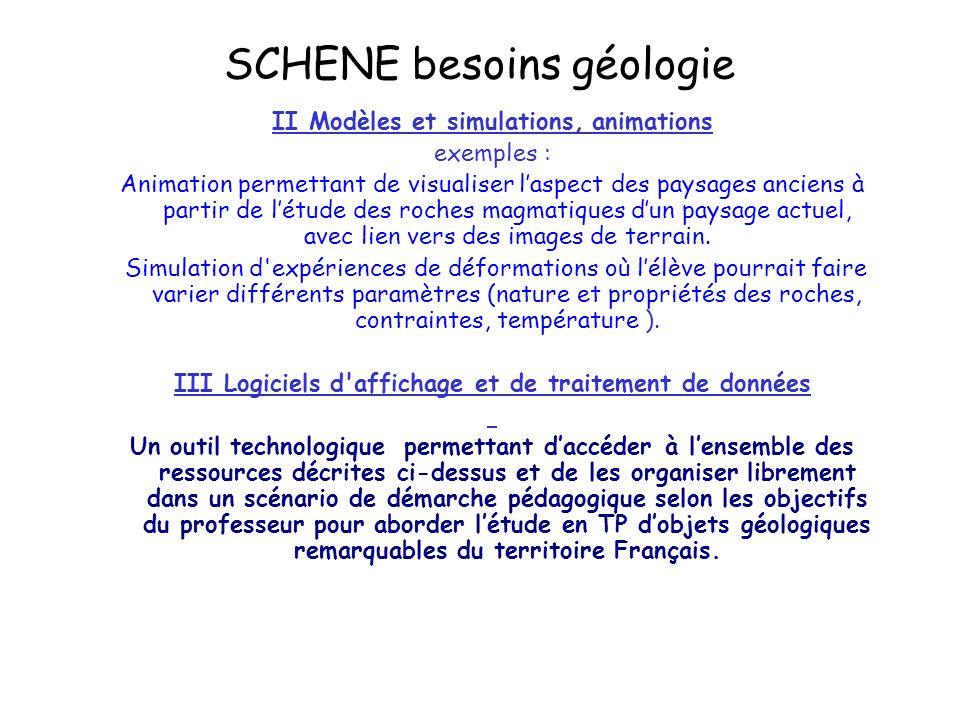 SCHENE besoins géologie II Modèles et simulations, animations exemples : Animation permettant de visualiser laspect des paysages anciens à partir de létude des roches magmatiques dun paysage actuel, avec lien vers des images de terrain.