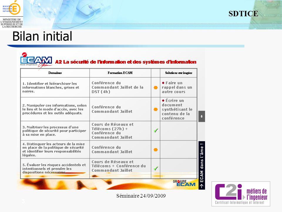 3 SDTICE Séminaire 24/09/2009 3 Bilan initial