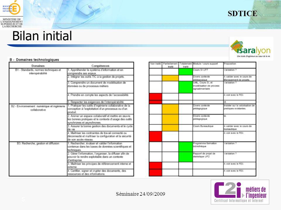 5 SDTICE Séminaire 24/09/2009 5 Bilan initial