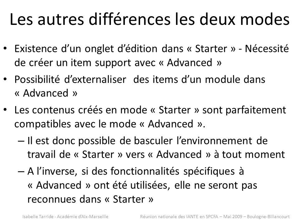 Les autres différences les deux modes Existence dun onglet dédition dans « Starter » - Nécessité de créer un item support avec « Advanced » Possibilité dexternaliser des items dun module dans « Advanced » Les contenus créés en mode « Starter » sont parfaitement compatibles avec le mode « Advanced ».