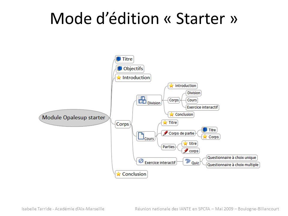 Mode dédition « Starter » Isabelle Tarride - Académie dAix-Marseille Réunion nationale des IANTE en SPCFA – Mai 2009 – Boulogne-Billancourt