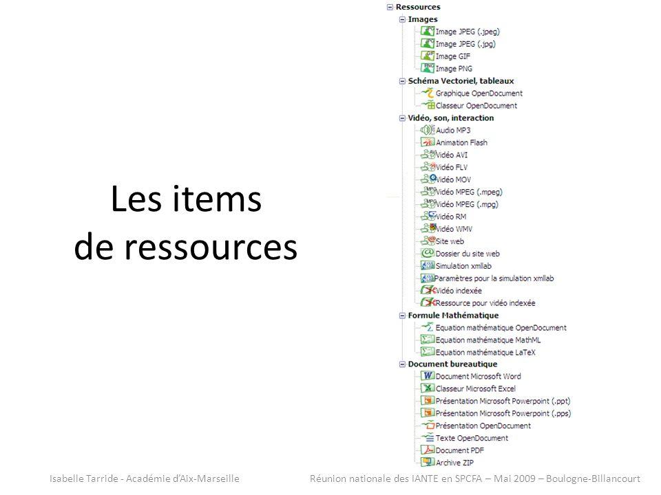 Les items de ressources Isabelle Tarride - Académie dAix-Marseille Réunion nationale des IANTE en SPCFA – Mai 2009 – Boulogne-Billancourt