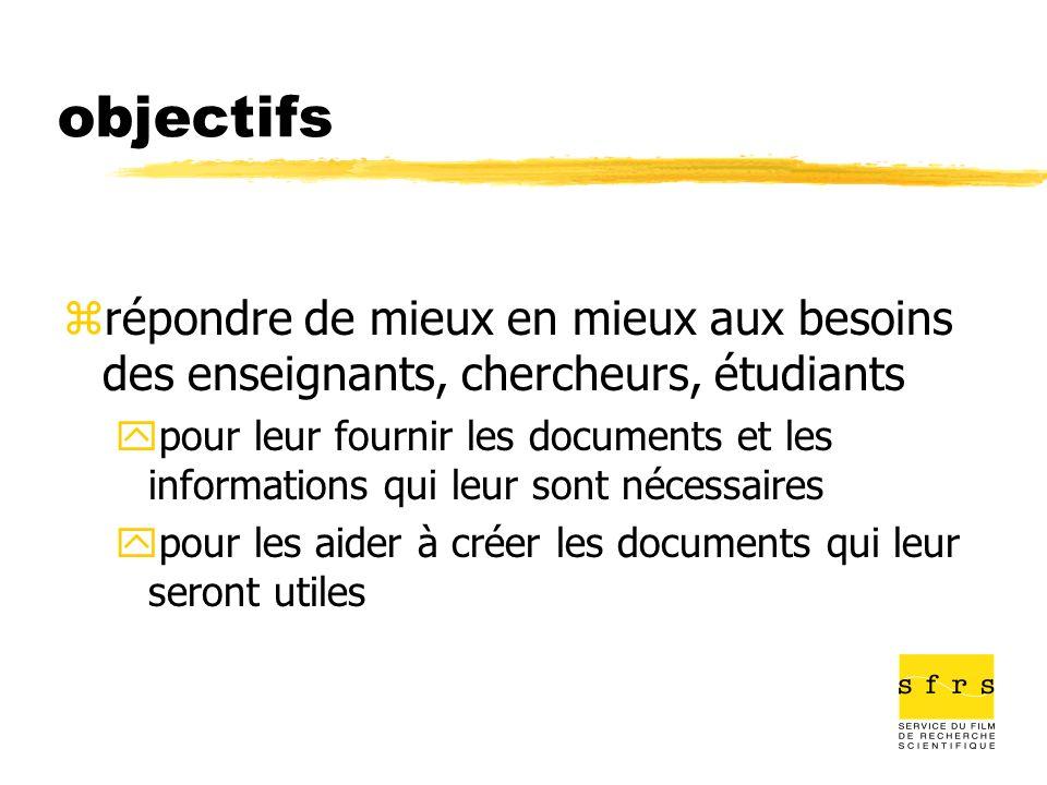objectifs zrépondre de mieux en mieux aux besoins des enseignants, chercheurs, étudiants ypour leur fournir les documents et les informations qui leur