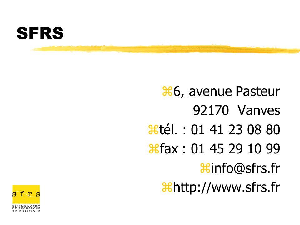 SFRS z6, avenue Pasteur 92170 Vanves ztél. : 01 41 23 08 80 zfax : 01 45 29 10 99 zinfo@sfrs.fr zhttp://www.sfrs.fr