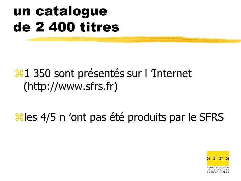 un catalogue de 2 400 titres z1 350 sont présentés sur l Internet (http://www.sfrs.fr) zles 4/5 n ont pas été produits par le SFRS