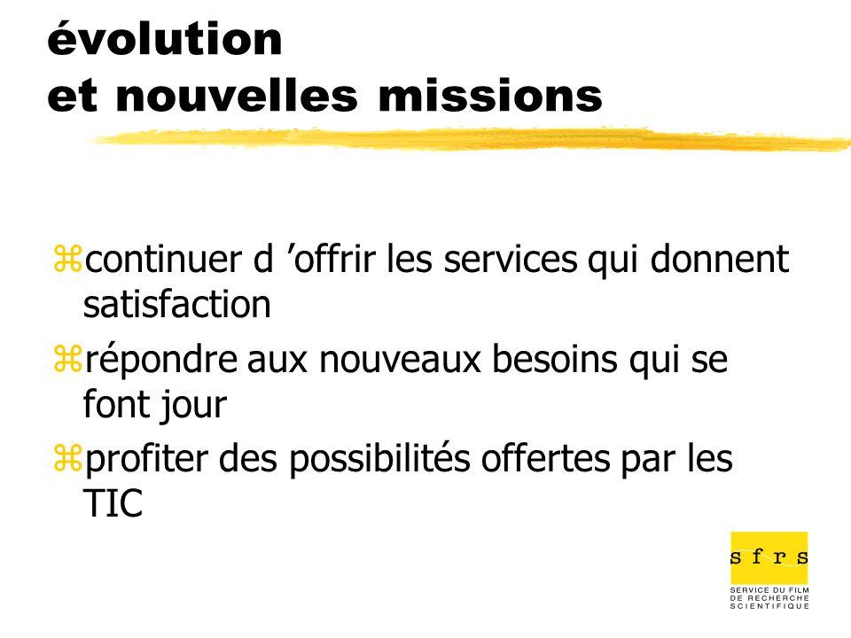 évolution et nouvelles missions zcontinuer d offrir les services qui donnent satisfaction zrépondre aux nouveaux besoins qui se font jour zprofiter de
