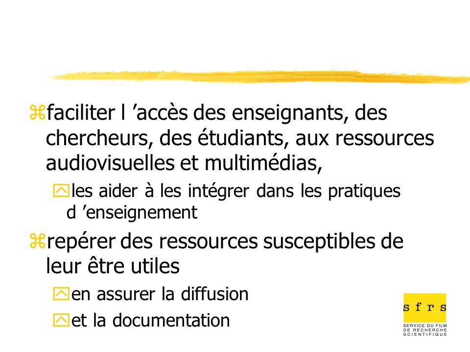 zfaciliter l accès des enseignants, des chercheurs, des étudiants, aux ressources audiovisuelles et multimédias, yles aider à les intégrer dans les pr