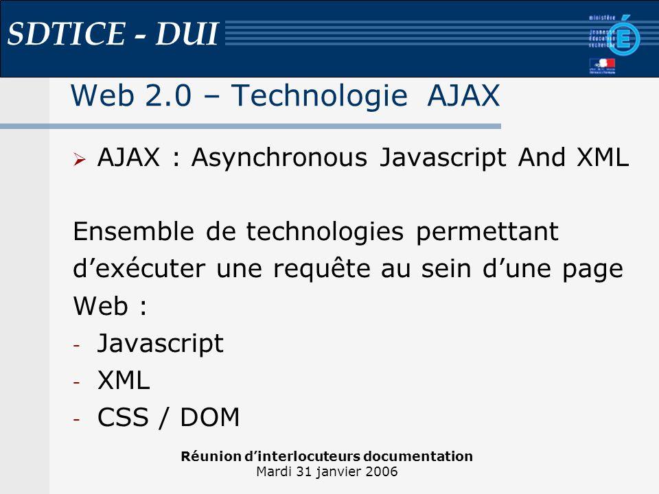 Réunion dinterlocuteurs documentation Mardi 31 janvier 2006 SDTICE - DUI Web 2.0 – Technologie AJAX Avantages : Interface réactive Rapidité dexécution Ergonomie améliorée Inconvénients : Indexation Support par les navigateurs