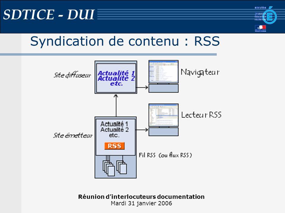 Réunion dinterlocuteurs documentation Mardi 31 janvier 2006 SDTICE - DUI Syndication de contenu : RSS