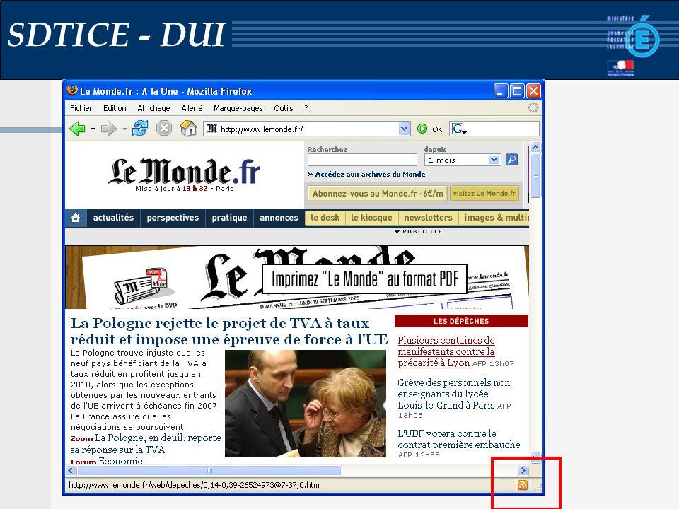 Réunion dinterlocuteurs documentation Mardi 31 janvier 2006 SDTICE - DUI Podcasting Podcast / Podcasting : - Fil RSS avec lien vers des contenus multimédias - Possibilité découter le contenu dans les transports (à terme vidéo) - Lien fort avec les baladeurs MP3 - Du contenu audio en libre accès http://www.radiofrance.fr/services/rfmobiles/podcast/