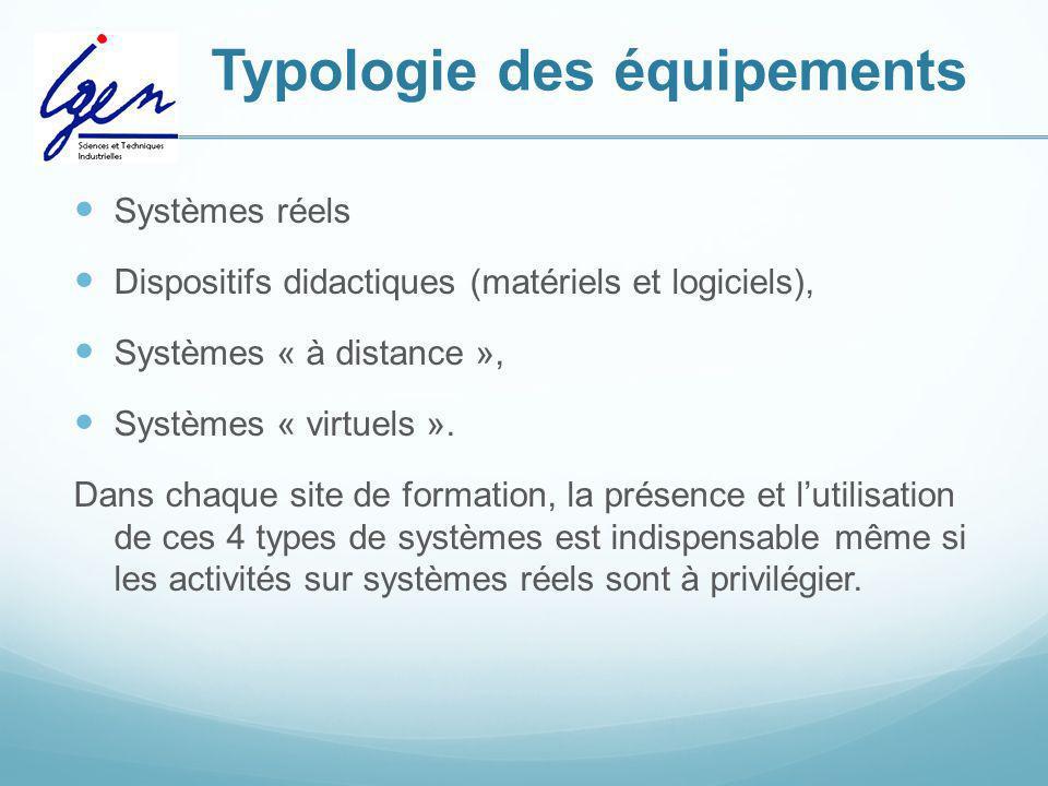 Typologie des équipements Systèmes réels Dispositifs didactiques (matériels et logiciels), Systèmes « à distance », Systèmes « virtuels ». Dans chaque