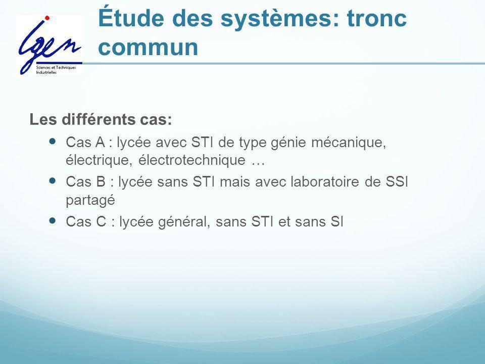 Étude des systèmes: tronc commun Les différents cas: Cas A : lycée avec STI de type génie mécanique, électrique, électrotechnique … Cas B : lycée sans