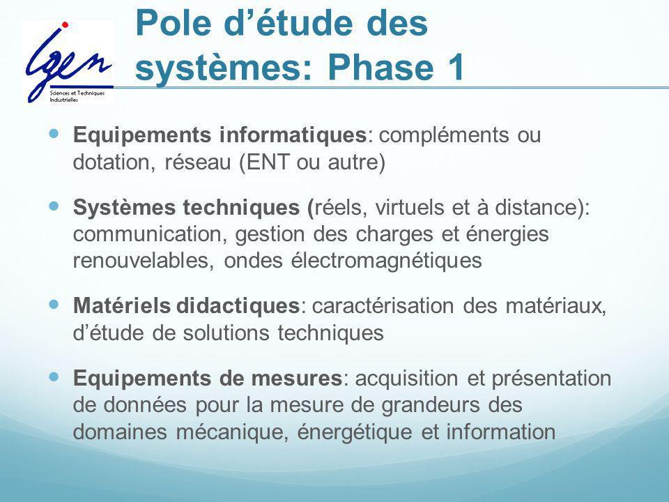 Pole détude des systèmes: Phase 1 Equipements informatiques: compléments ou dotation, réseau (ENT ou autre) Systèmes techniques (réels, virtuels et à