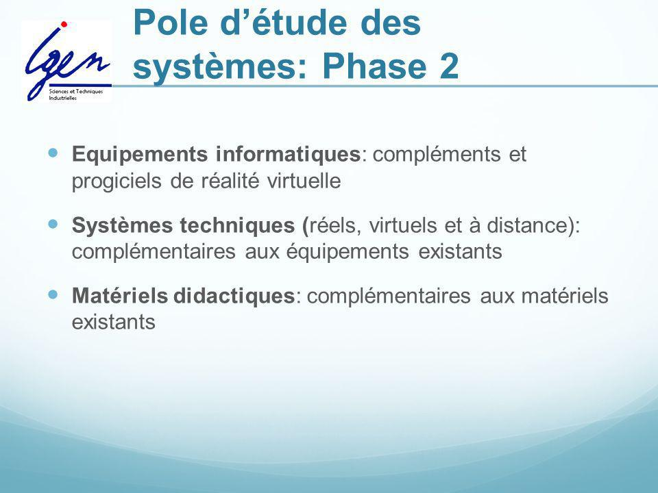 Pole détude des systèmes: Phase 2 Equipements informatiques: compléments et progiciels de réalité virtuelle Systèmes techniques (réels, virtuels et à