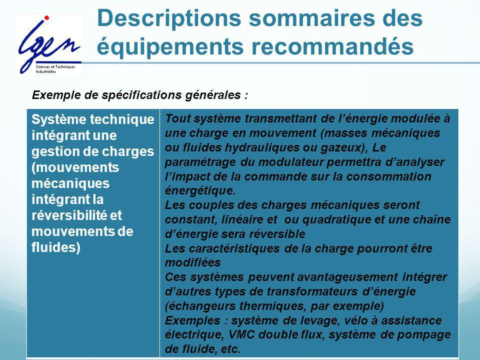 Descriptions sommaires des équipements recommandés Système technique intégrant une gestion de charges (mouvements mécaniques intégrant la réversibilit