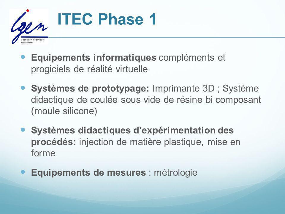 ITEC Phase 1 Equipements informatiques compléments et progiciels de réalité virtuelle Systèmes de prototypage: Imprimante 3D ; Système didactique de c