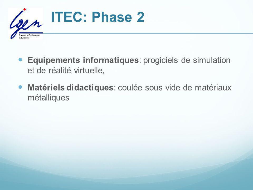 ITEC: Phase 2 Equipements informatiques: progiciels de simulation et de réalité virtuelle, Matériels didactiques: coulée sous vide de matériaux métall