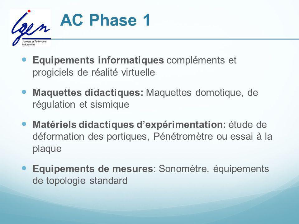 AC Phase 1 Equipements informatiques compléments et progiciels de réalité virtuelle Maquettes didactiques: Maquettes domotique, de régulation et sismi