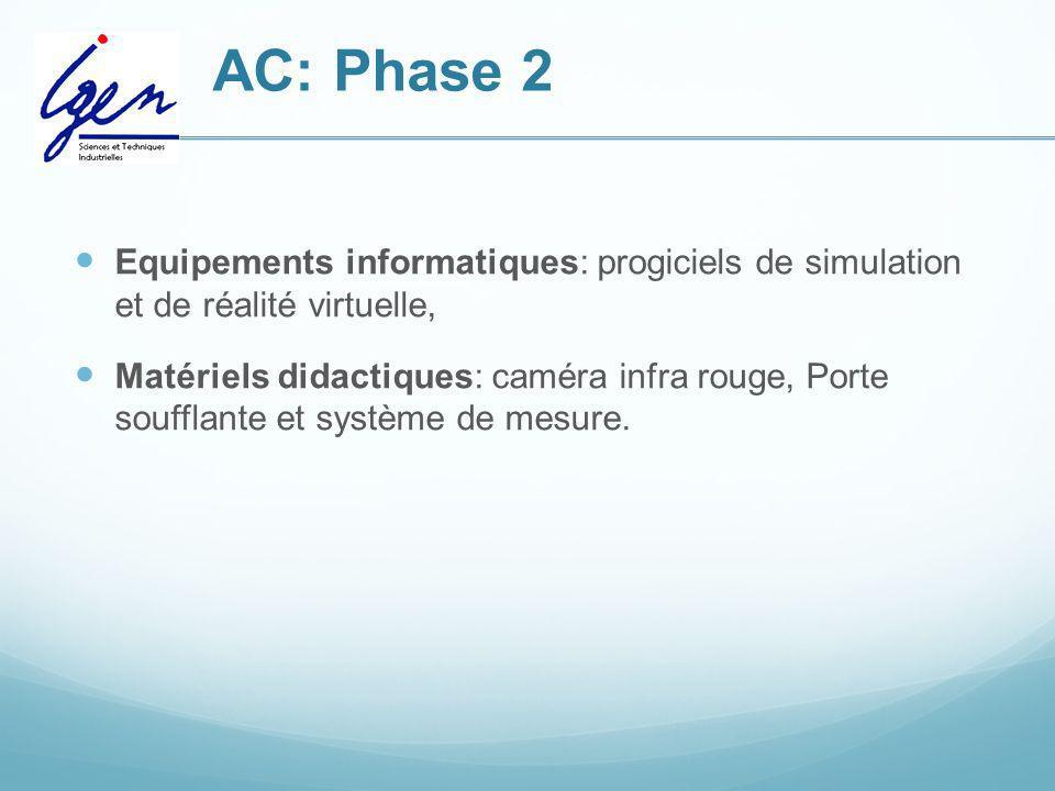 AC: Phase 2 Equipements informatiques: progiciels de simulation et de réalité virtuelle, Matériels didactiques: caméra infra rouge, Porte soufflante e