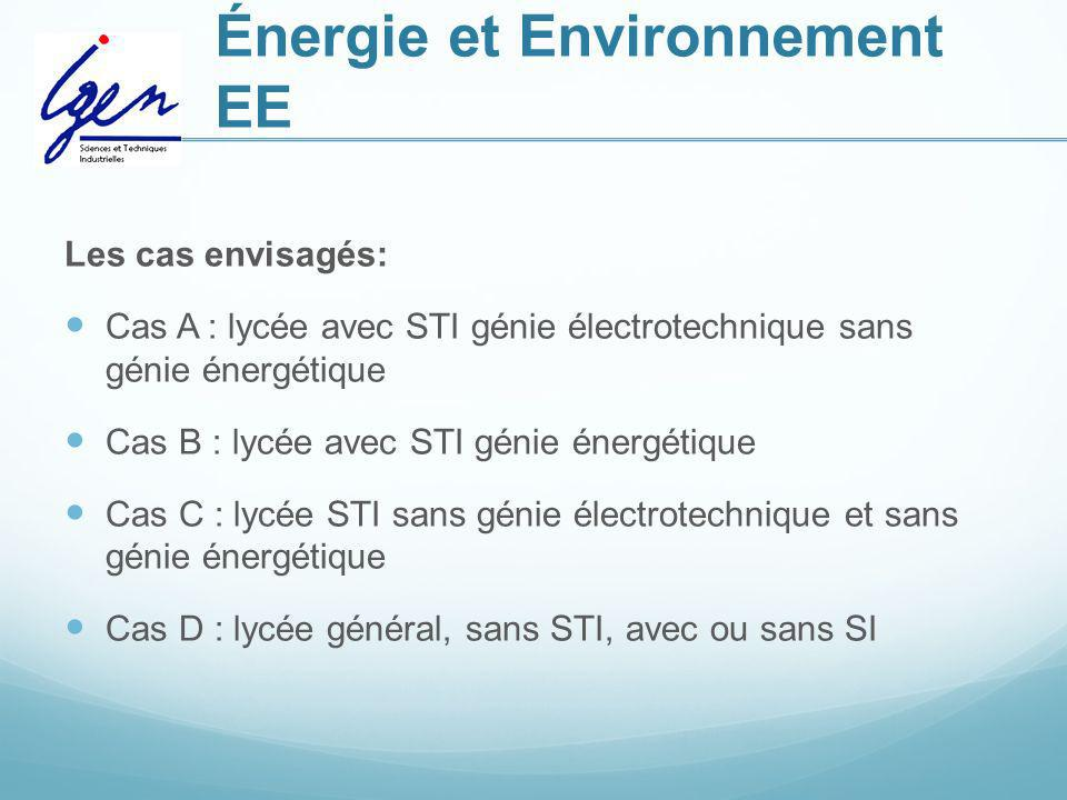 Énergie et Environnement EE Les cas envisagés: Cas A : lycée avec STI génie électrotechnique sans génie énergétique Cas B : lycée avec STI génie énerg