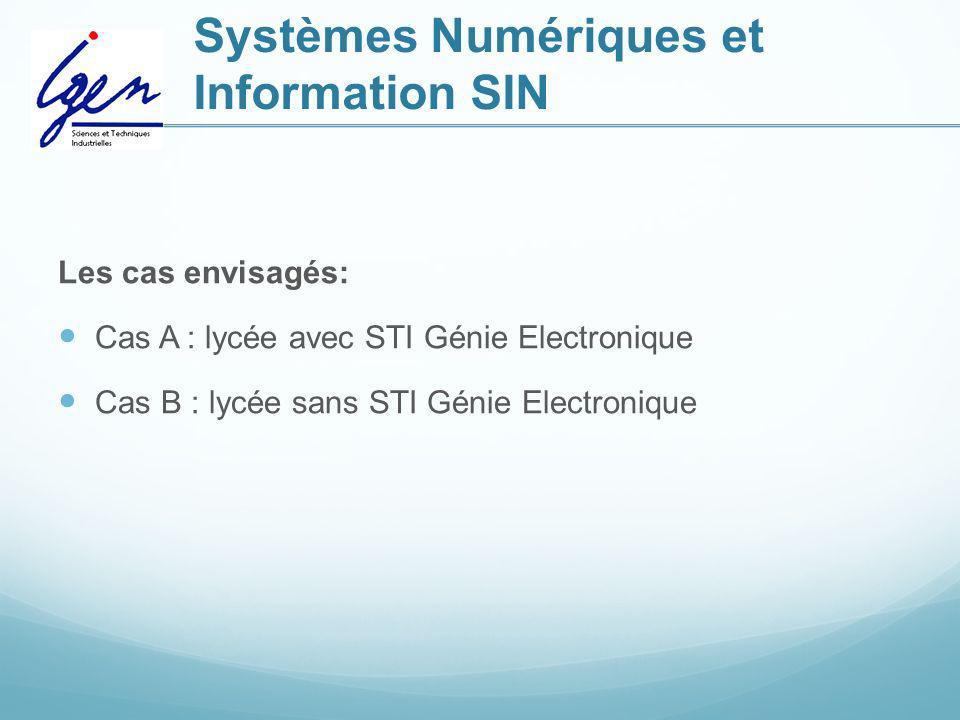 Systèmes Numériques et Information SIN Les cas envisagés: Cas A : lycée avec STI Génie Electronique Cas B : lycée sans STI Génie Electronique