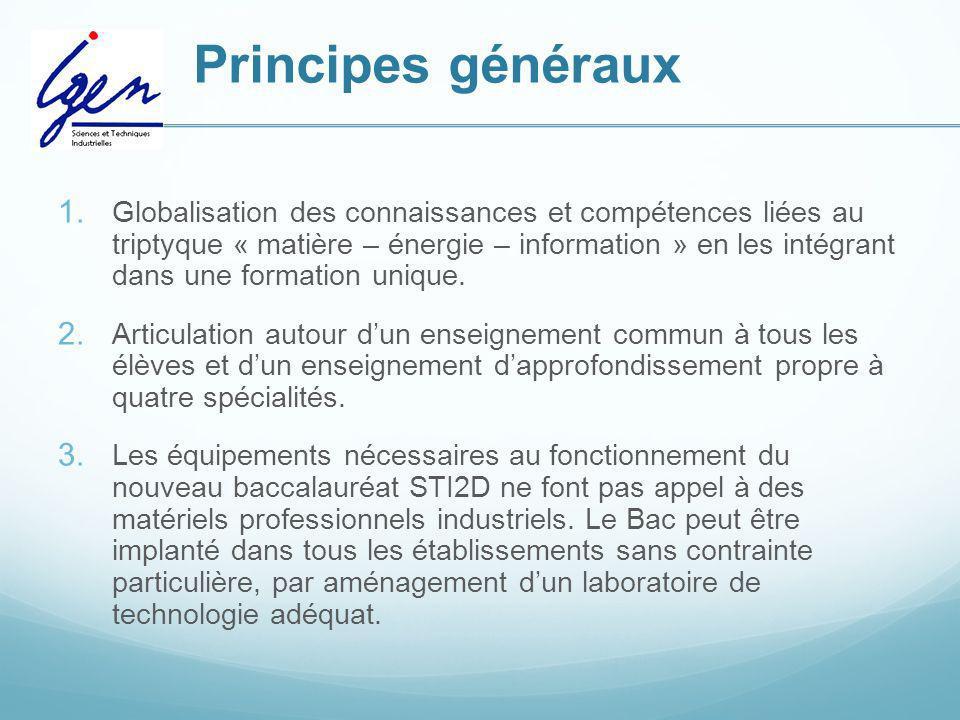 Principes généraux 1. Globalisation des connaissances et compétences liées au triptyque « matière – énergie – information » en les intégrant dans une