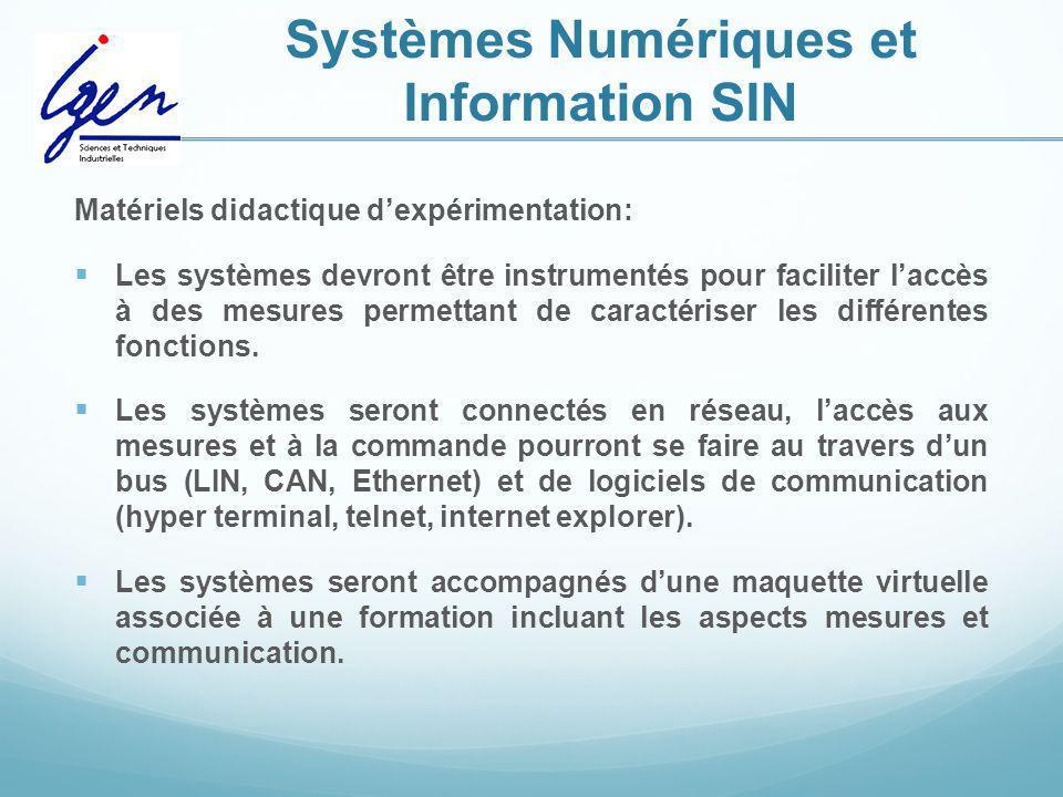 Systèmes Numériques et Information SIN Matériels didactique dexpérimentation: Les systèmes devront être instrumentés pour faciliter laccès à des mesur