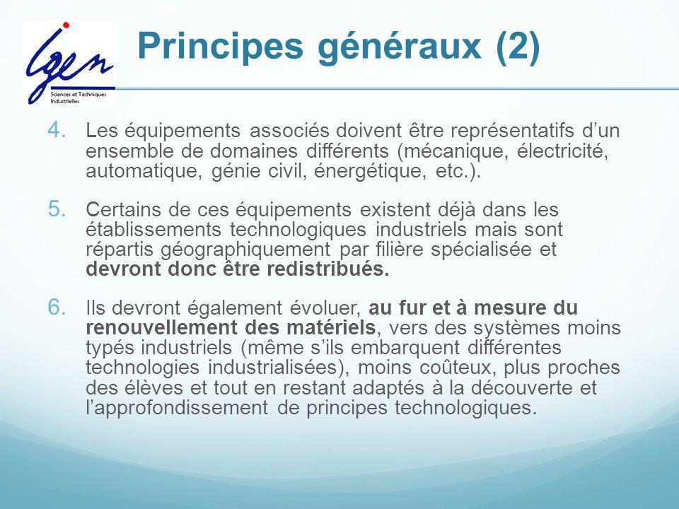 Principes généraux (2) 4. Les équipements associés doivent être représentatifs dun ensemble de domaines différents (mécanique, électricité, automatiqu