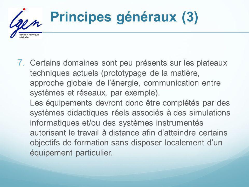 Principes généraux (3) 7. Certains domaines sont peu présents sur les plateaux techniques actuels (prototypage de la matière, approche globale de léne