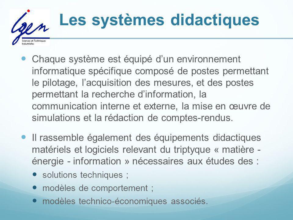 Les systèmes didactiques Chaque système est équipé dun environnement informatique spécifique composé de postes permettant le pilotage, lacquisition de