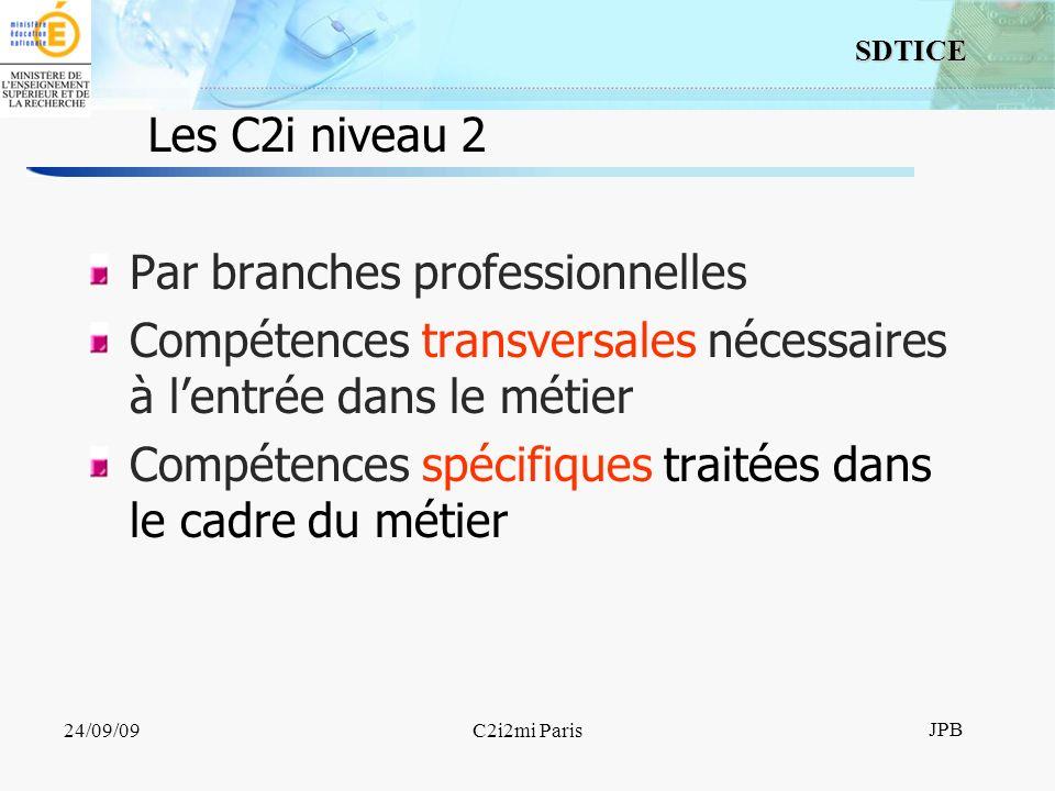 10 SDTICE JPB 24/09/09C2i2mi Paris Les C2i niveau 2 Par branches professionnelles Compétences transversales nécessaires à lentrée dans le métier Compétences spécifiques traitées dans le cadre du métier