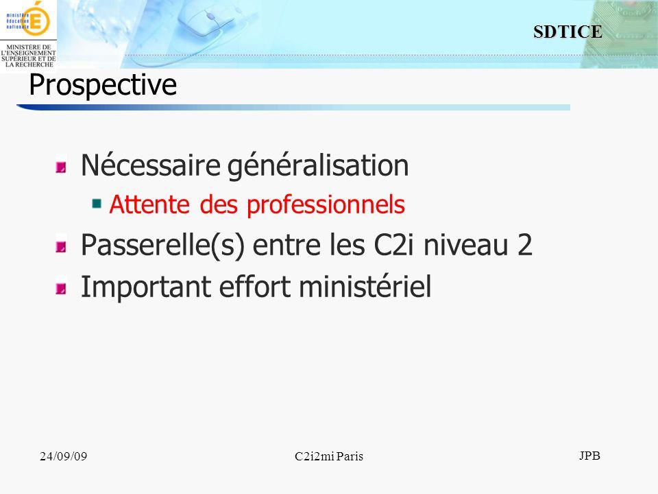 18 SDTICE JPB 24/09/09C2i2mi Paris Prospective Nécessaire généralisation Attente des professionnels Passerelle(s) entre les C2i niveau 2 Important effort ministériel