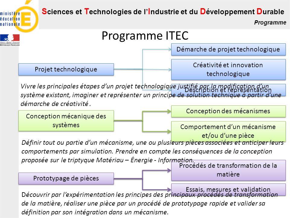 S ciences et T echnologies de l I ndustrie et du D éveloppement D urable Programme Programme ITEC Projet technologique Démarche de projet technologiqu