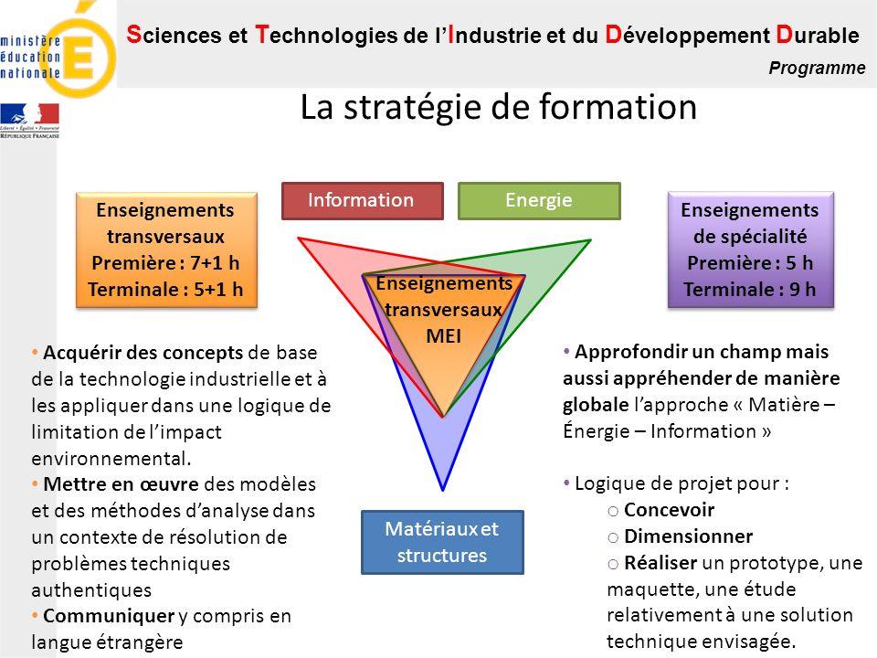 S ciences et T echnologies de l I ndustrie et du D éveloppement D urable Programme La stratégie de formation Matériaux et structures Energie Informati