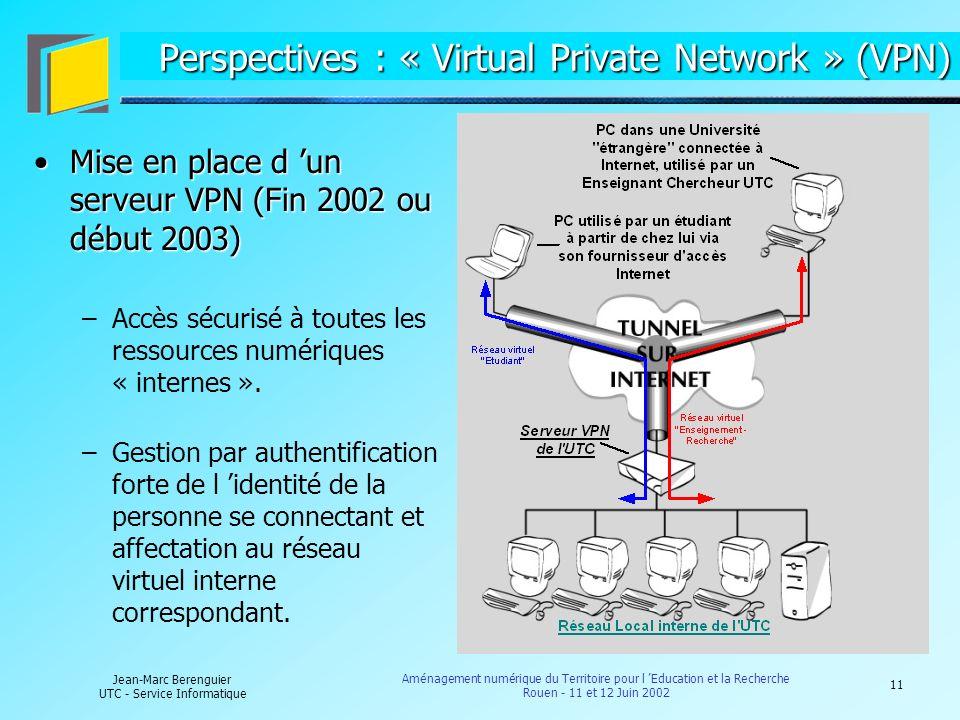 11 Jean-Marc Berenguier UTC - Service Informatique Aménagement numérique du Territoire pour l Education et la Recherche Rouen - 11 et 12 Juin 2002 Per