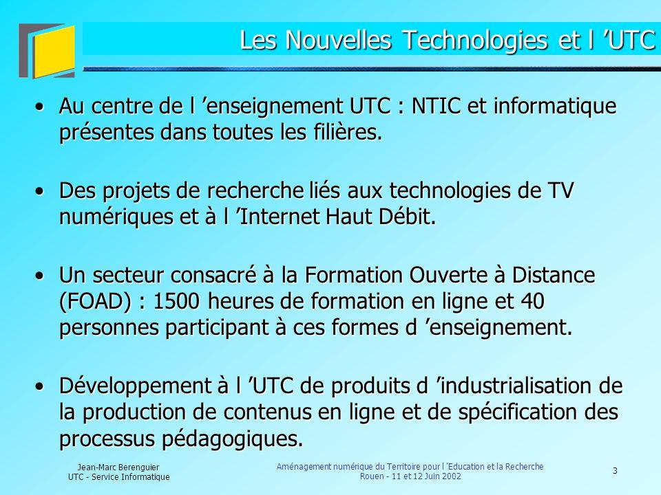 4 Jean-Marc Berenguier UTC - Service Informatique Aménagement numérique du Territoire pour l Education et la Recherche Rouen - 11 et 12 Juin 2002 Architecture du réseau informatique interne Hébergement du point d accès RENATER pour la région Picardie.Hébergement du point d accès RENATER pour la région Picardie.