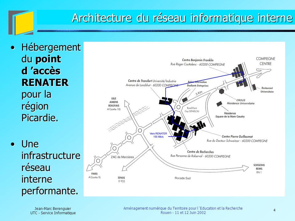 5 Jean-Marc Berenguier UTC - Service Informatique Aménagement numérique du Territoire pour l Education et la Recherche Rouen - 11 et 12 Juin 2002 Accès aux ressources « numériques » internes 1/2 Dès 1999, mise en place d un serveur d accès permettant aux personnels de l UTC et aux étudiants d accéder aux ressources « numériques » internes de l UTC à partir de l extérieur : des débits d accès allant de 56 Kb/s à 128.Dès 1999, mise en place d un serveur d accès permettant aux personnels de l UTC et aux étudiants d accéder aux ressources « numériques » internes de l UTC à partir de l extérieur : des débits d accès allant de 56 Kb/s à 128 Kb/s.