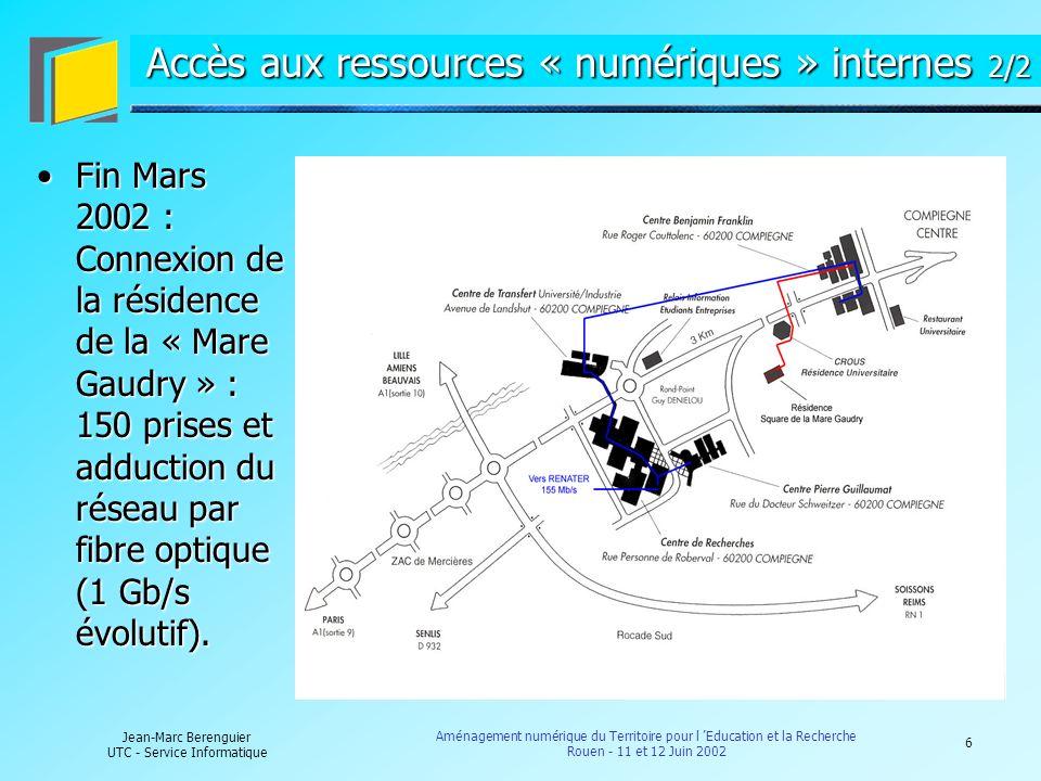 6 Jean-Marc Berenguier UTC - Service Informatique Aménagement numérique du Territoire pour l Education et la Recherche Rouen - 11 et 12 Juin 2002 Accè