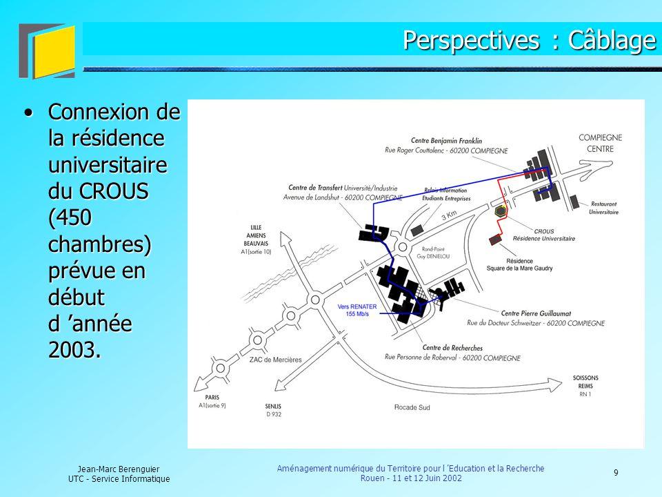 10 Jean-Marc Berenguier UTC - Service Informatique Aménagement numérique du Territoire pour l Education et la Recherche Rouen - 11 et 12 Juin 2002 Perspectives : Contenus et Diffusion de contenus Equipement de l UTC en solutions de visioconférences :Equipement de l UTC en solutions de visioconférences : De bureauDe groupe Equipement de l UTC en serveurs de contenus multimédias :Equipement de l UTC en serveurs de contenus multimédias : Mise en ligne de cours, de contenus relatifs à la Recherche, d informations administratives, de contenus culturels, … et interactivité grâce aux équipements de visioconférences.