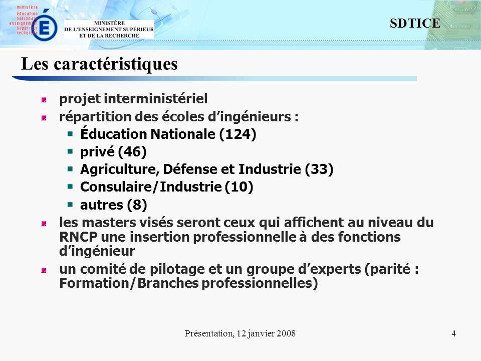 4 SDTICE Présentation, 12 janvier 20084 Les caractéristiques projet interministériel répartition des écoles dingénieurs : Éducation Nationale (124) pr