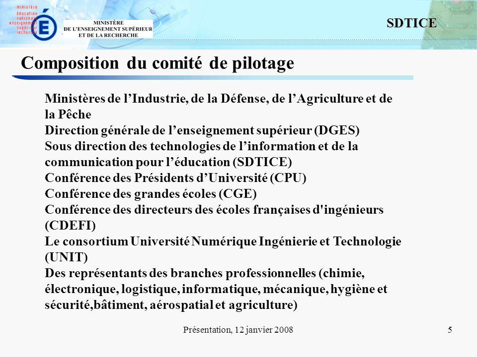 5 SDTICE Présentation, 12 janvier 20085 Composition du comité de pilotage Ministères de lIndustrie, de la Défense, de lAgriculture et de la Pêche Dire