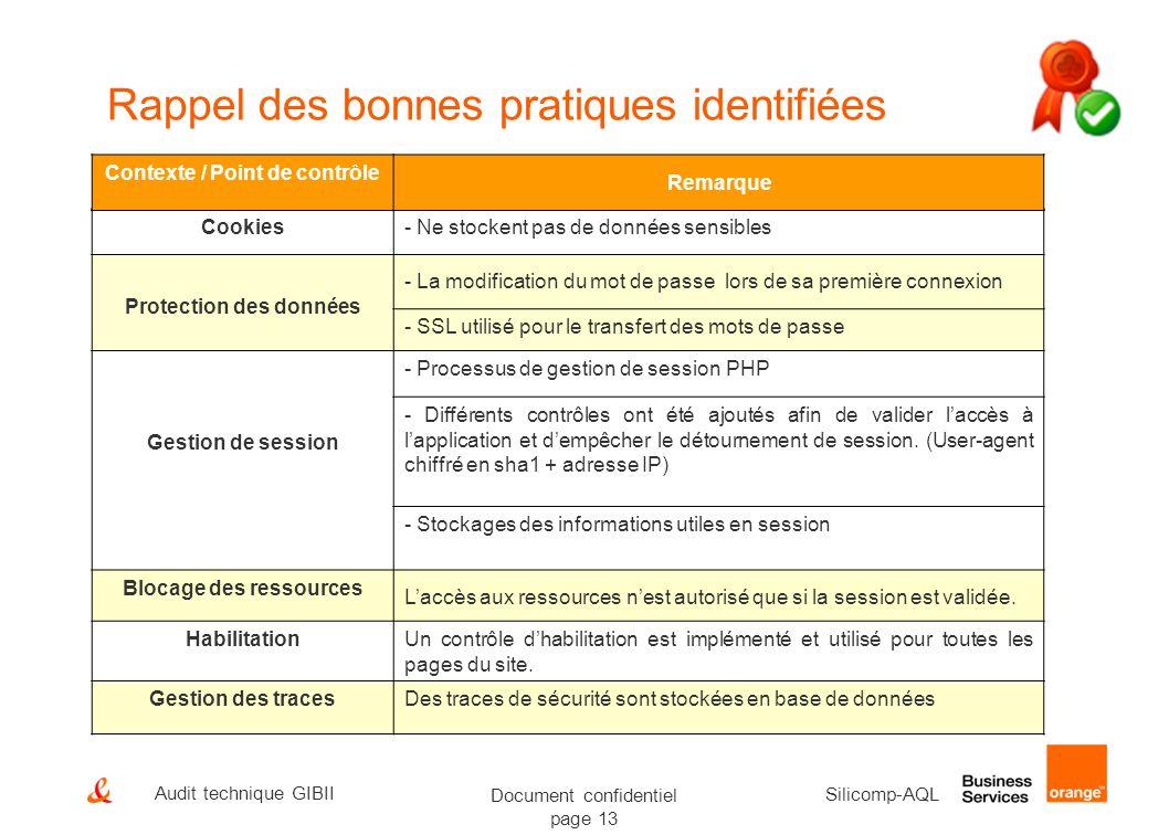 Document confidentiel page 13 Silicomp-AQL Audit technique GIBII Rappel des bonnes pratiques identifiées Cookies- Ne stockent pas de données sensibles