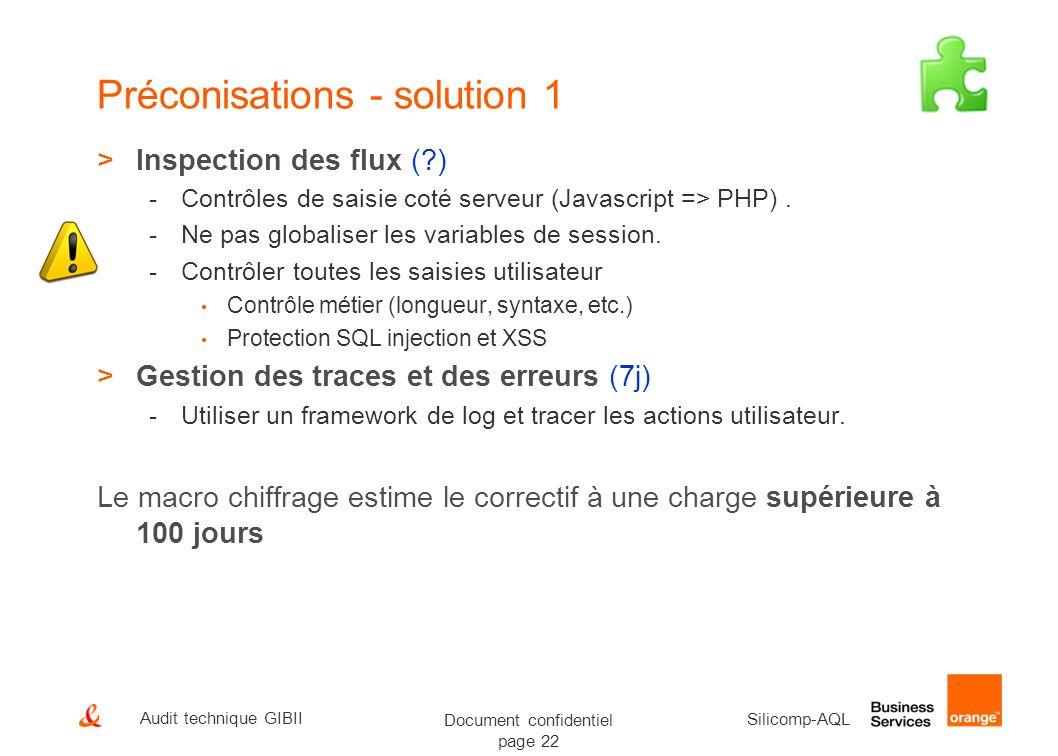 Document confidentiel page 22 Silicomp-AQL Audit technique GIBII Préconisations - solution 1 >Inspection des flux (?) -Contrôles de saisie coté serveu