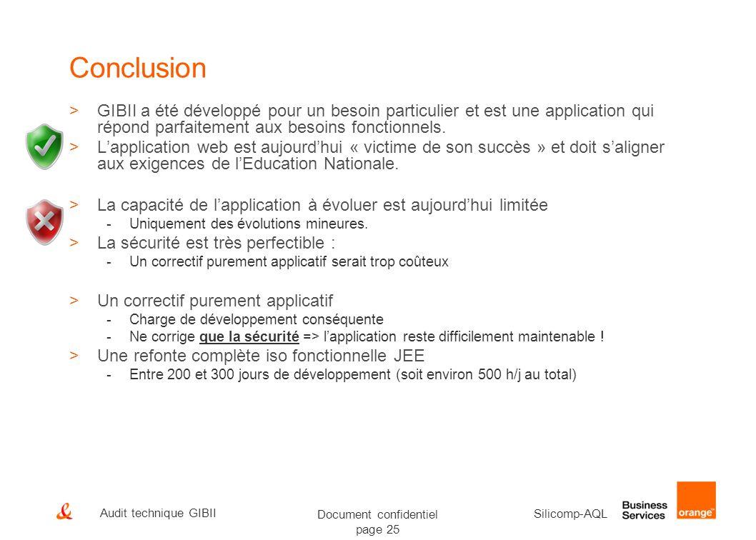 Document confidentiel page 25 Silicomp-AQL Audit technique GIBII Conclusion >GIBII a été développé pour un besoin particulier et est une application q